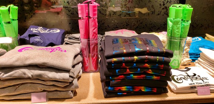 Candytopia shirts and umbrellas for sale in the gift shop