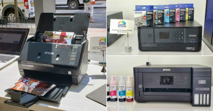 collage of two Epson printers and a photo scanner