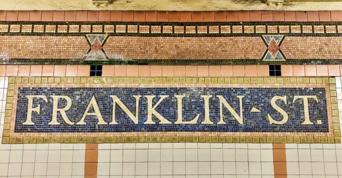 Franklin St. subway station mosaic