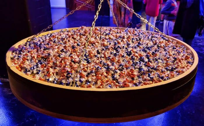 Giant candy dish suspended from the ceiling at Candytopia, filled with LINDOR Truffles