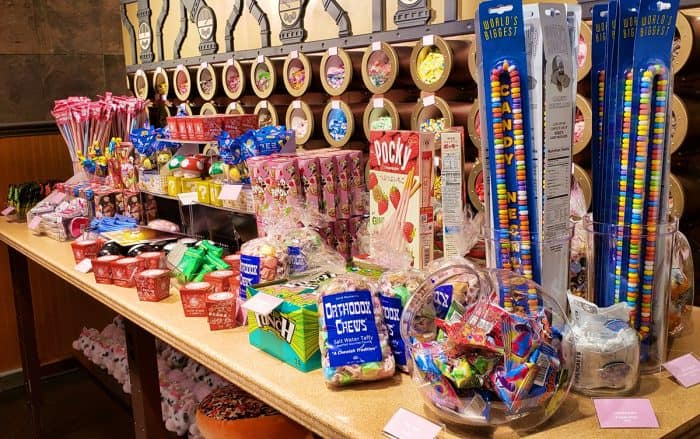 A table full of candy at the Candytopia gift shop