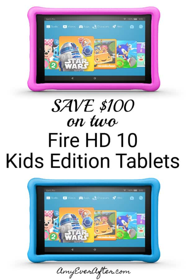 Want to save $100 on two of the new Fire HD 10 Kids Edition tablets from Amazon? These are hands-down the best tablets for kids. This new Fire has a bigger display, and a kid-proof case. Plus, if your kid still manages to break it in the first two years, Amazon will send you a replacement, no questions asked! Read on to find out how to save. #kindlefire #firehd10