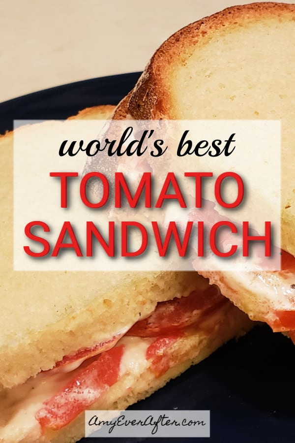 This tomato sandwich with mayo is so simple it barely needs a recipe, but here it is anyway. I've been obsessed with this sandwich all summer! The key is to use really ripe, juicy tomatoes that will soak into the bread a bit. Eat it as is, or cut it in quarters and serve it as an appetizer. #tomatoes #vegetarian #summer