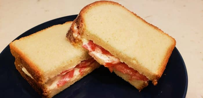 Tomato sandwich with mayo, cut in half