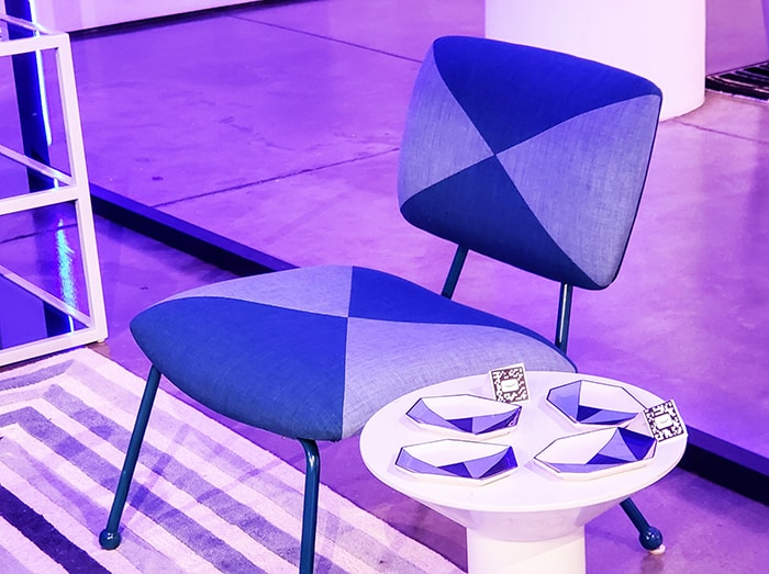 blue chair from the Jonathan Adler Furniture Collection