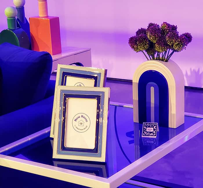 Jonathan Adler picture frames and vase