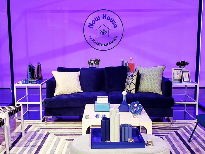 dark blue couch from Jonathan Adler