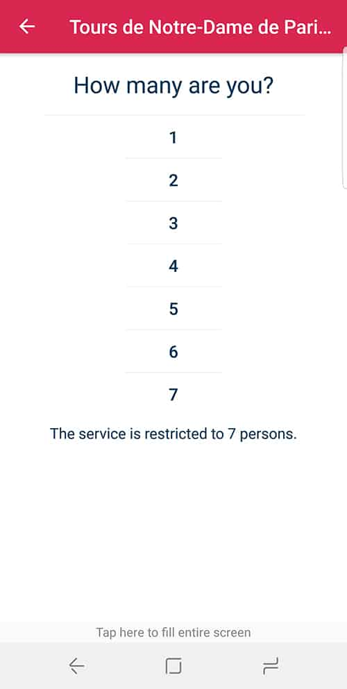 choosing how many people in your party on the Jefile app