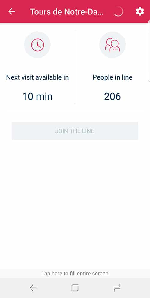 The Jefile app showing the next available reservation