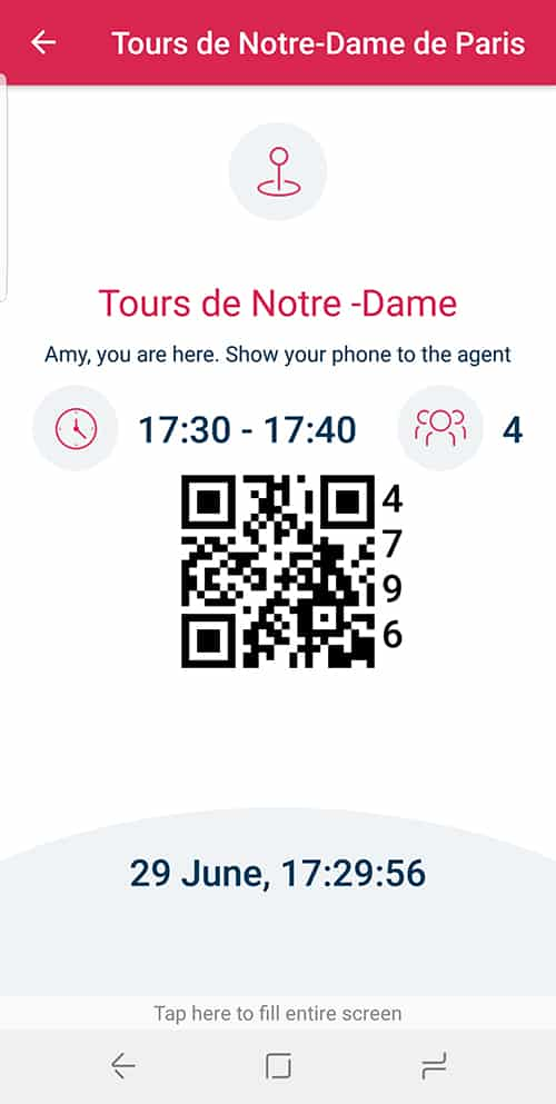 the Jefile screen that you show the Notre Dame attendant when it's your turn for the tower tour