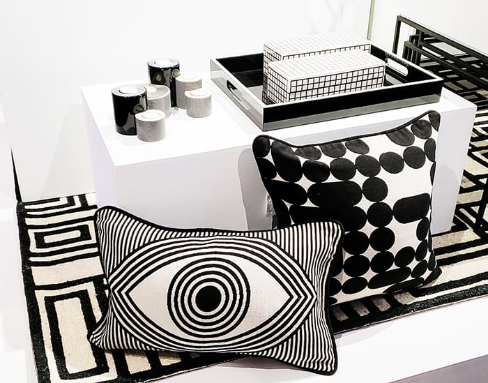 black and white pillows and pottery from the Jonathan Adler Now House Collection on Amazon