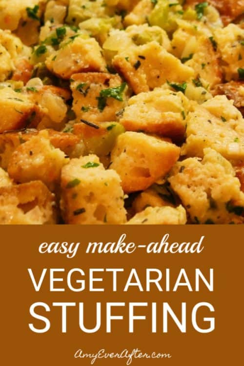This is a delicious, easy, make-ahead vegetarian stuffing recipe that you can put together up to two months in advance, saving yourself some precious time on Thanksgiving! This homemade casserole is so good, even the carnivores won't miss the meat. #vegetarian #Thanksgiving