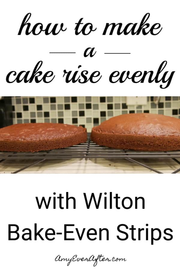 Want to know how to bake a flat cake? I use Wilton Bake-Even Strips, and I'm going to show you just how much of a difference they can make! They're so much easier than using a towel or wet newspapers or other wraps. #baking #cakes