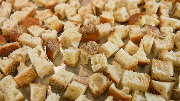 close up of bread cubes