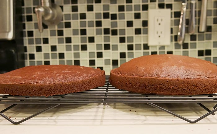 one flat cake layer and one domed cake layer
