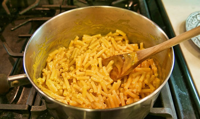 creamy mac and cheese in a pot
