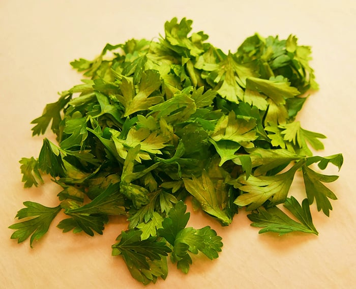 parsley leaves in a pile