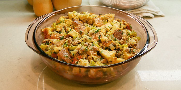 make-ahead sausage stuffing in a casserole dish