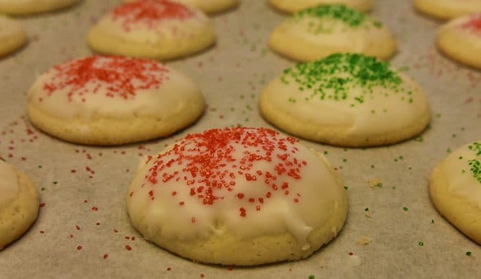 round iced cookies decorated with red and green sugar