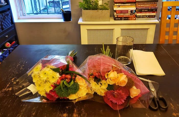 Two bouquets of grocery store flowers