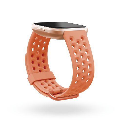 Fitbit Versa 2 Copper Rose Aluminum Case wtih coral sport band