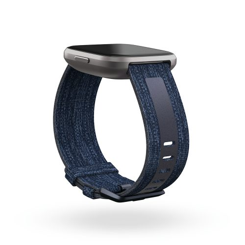 Fitbit Versa 2 Mist Grey Case with althleisure-centric band in navy with navy stripe