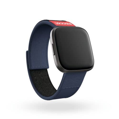 Fitbit Versa 2 with blue RECCO band