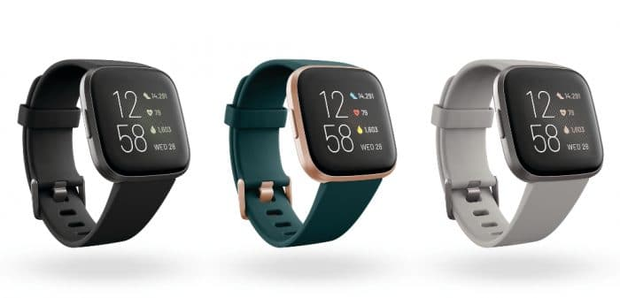 Three different colors of the Versa 2