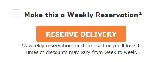 Checkbox to make this a weekly reservation on Fresh Direct