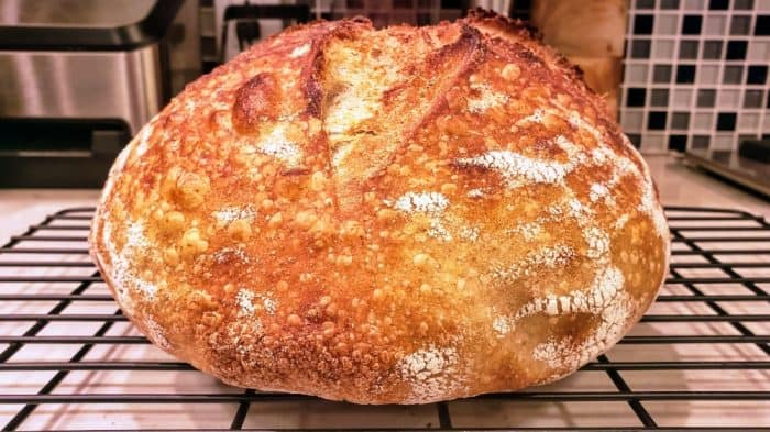 Sourdough bread on a cooling rack
