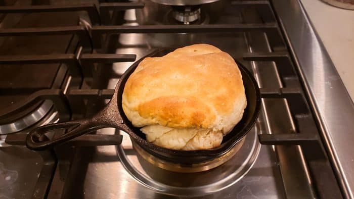 A big biscuit in a small cast-iron pan