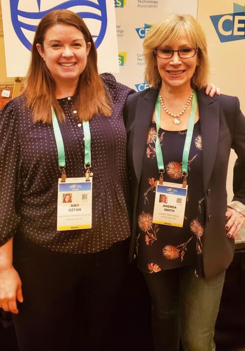 Amy Oztan and Andrea Smith standing together, at CES in Las Vegas