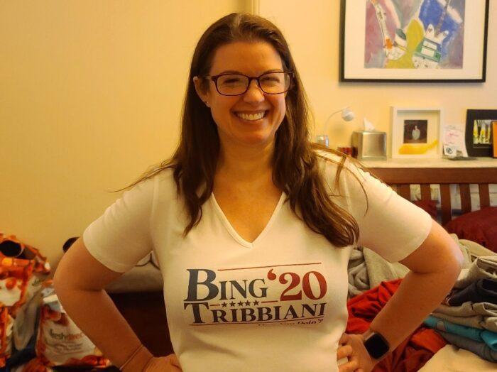 "Amy wearing a ""Bing Tribbiani '20"" t-shirt"