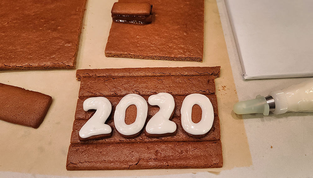 """2020"" gingerbread decorated with white icing"