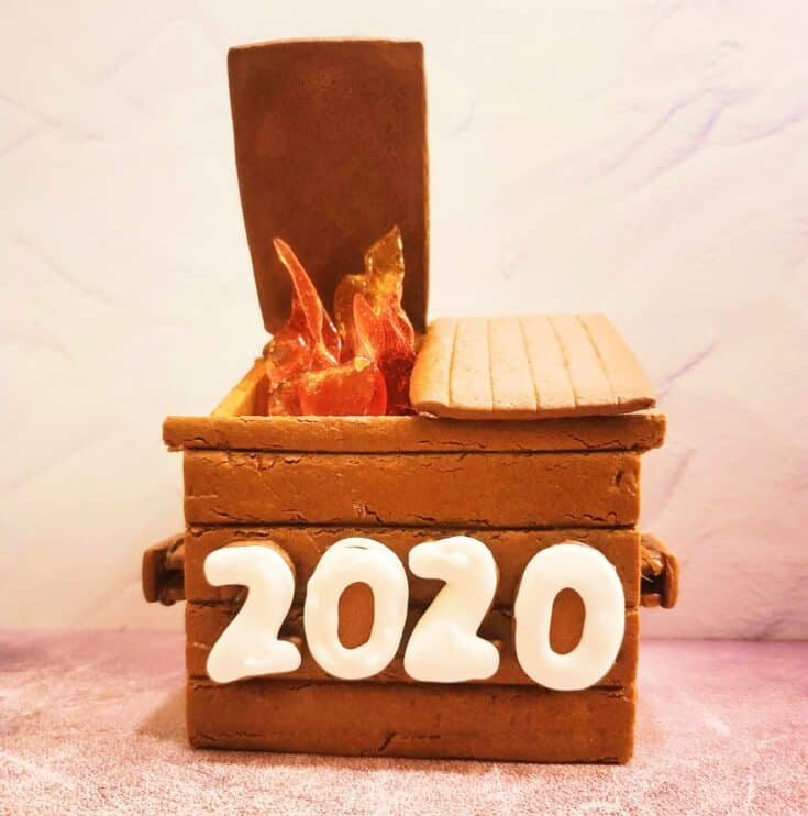 a flaming dumpster made out of gingerbread and candy